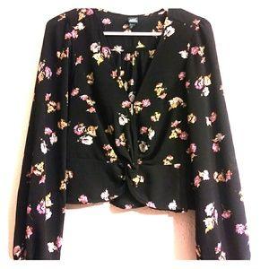 Women's black floral blouse